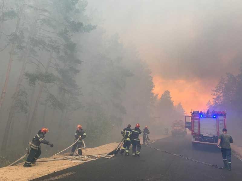 К борьбе с лесным пожаром в Луганской области привлечены подразделения ВСУ, Нацгвардии и дополнительные силы ГСЧС – доклад Президенту